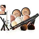 MEDIUM SKIN Mineral Makeup Foundation 14 Piece COMPLETE SET Pure Natural Minerals With Organic Silk Primer, Full Cover by Intelligent Cosmetics®