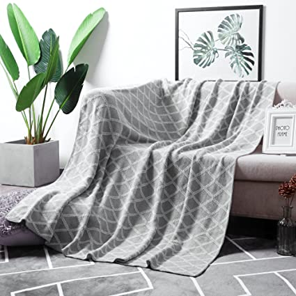 Throw Blankets For Couches Unique Amazon MoMA 60% Organic Cotton Light Grey Cable Knit Throw