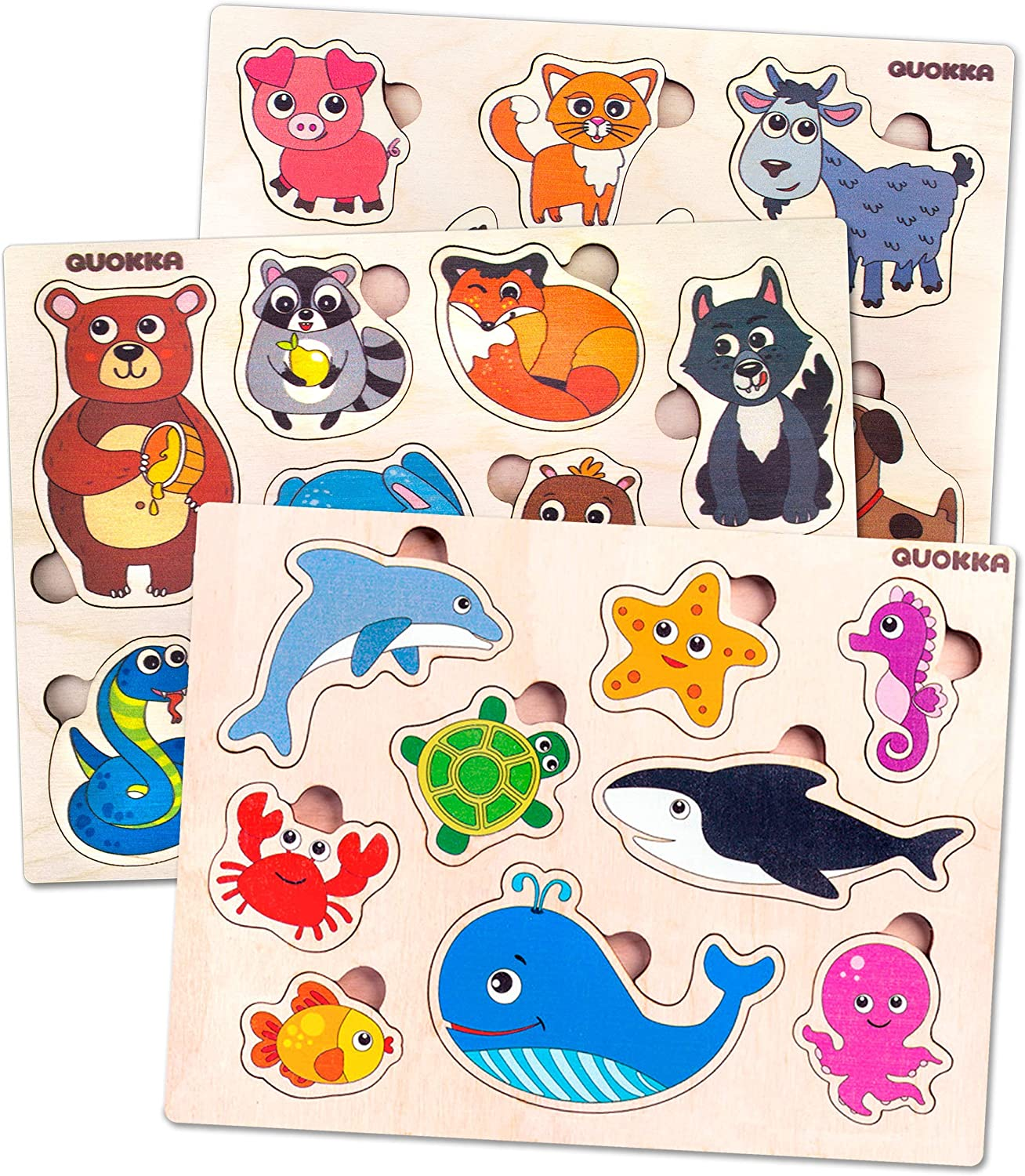 Toddler Toys Puzzles for Kids Ages 2-4 by Quokka – 3 Wooden Puzzles for Toddlers 1-3 Years Old - Babies' Wood Toy for Learning Animals and Sea Creatures - Gift Educational Toys for Boys and Girls