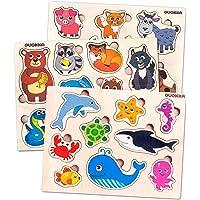 Quokka Puzzles de Madera de Animales Niños 1 2 3 Años - Juguetes Bebes Montessori 1 años - Educativos Rompecabezas…