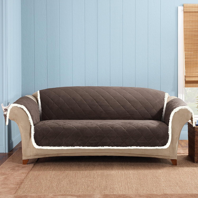 SureFit Soft Suede & Sherpa Throw Sofa, Chocolate/Cream