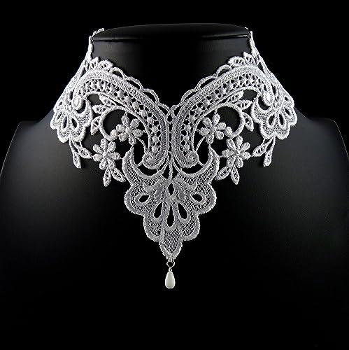 Amazon.com  Arthlin Jewelry White Lace Choker Necklace with Glass Teardrop  Bead cfe1dc474024