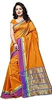 Indian Fashionista Women's Uppada Silk Solid Saree With Blouse Piece - NRPT1128I_Orange_Free Size
