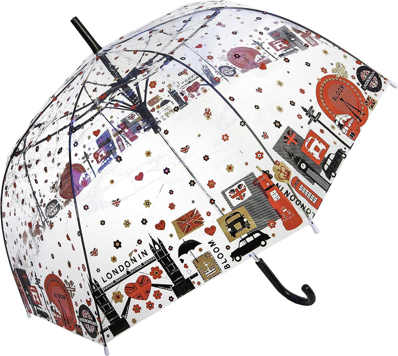 London in Blooms Transparent Straight Umbrella