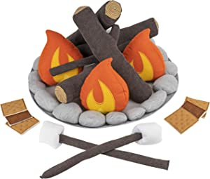 Cart Adventure Kids Pretend Plush Campfire and S'Mores Toy Set   Fun Indoor Camping Accessories   Fake Fire, Logs, Stones and S'Mores for Imagination   Play Set for Learning The Outdoors or Decor