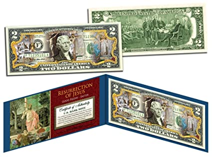 Amazon happy easter religious gift colorized 2 bill us happy easter religious gift colorized 2 bill us legal tender with folio negle Images