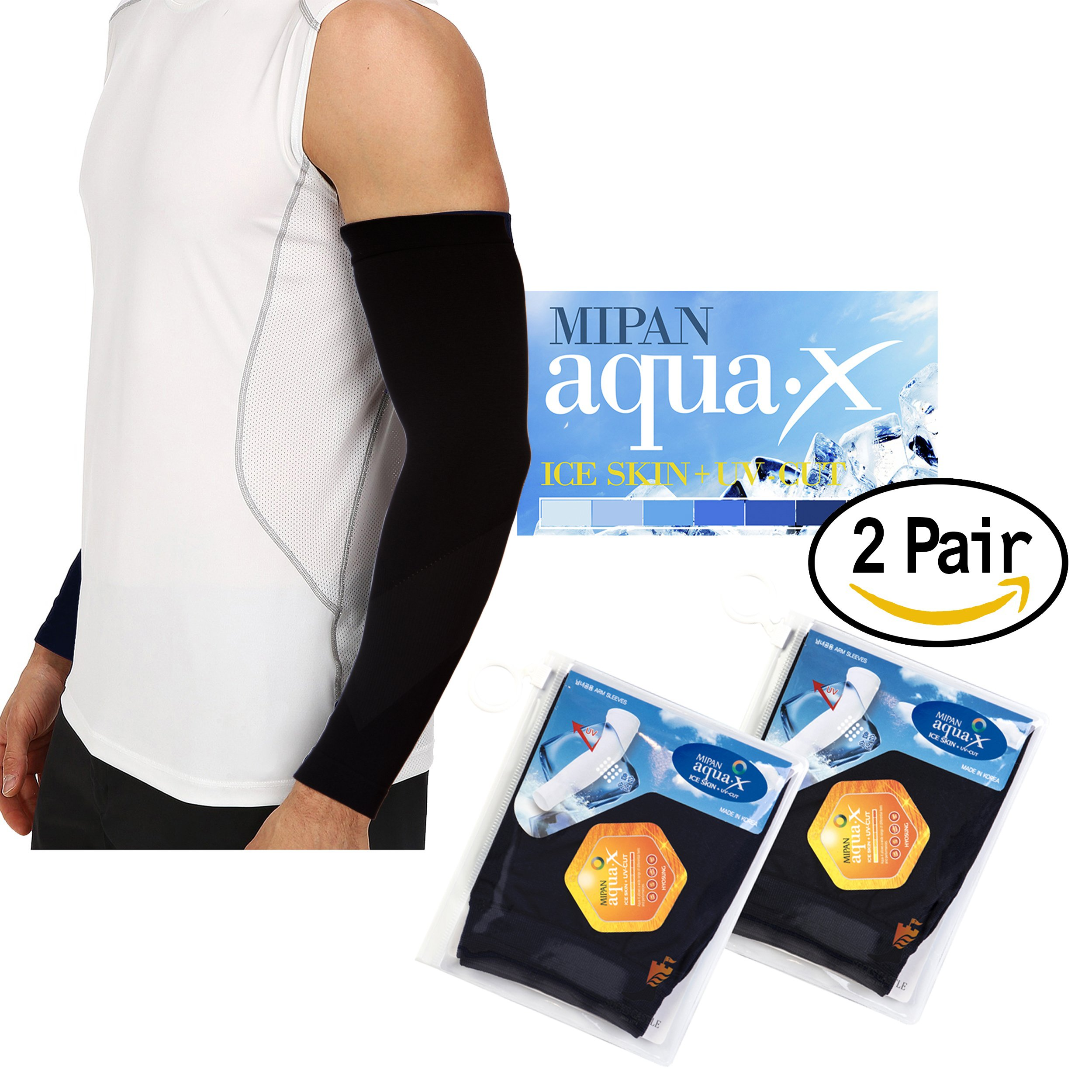 Aqua X ARM Sleeves for Men and Women Sun Protective Skin UV Cut Flexible & Durable (Black 2 Pairs)