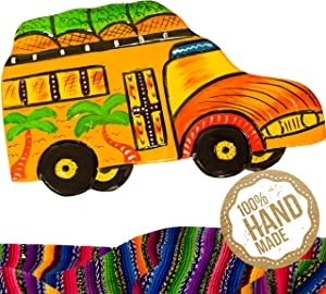 Yellow Bus Wooden Wall Art Decor from Guatemala - Guatemalan Design, Hand Carved & Made With 100% Real Wood - Perfect For Living Room & Bedroom Wall Hangings and Home Art Decorations