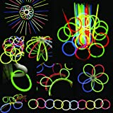 "200 8"" glow stick bracelets,mixed colors,200bracelet necklace connectors,5 pairs of glow glasses connectors,1 glow ball/flower kit,5 hair clip barrettes"