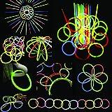 """100 8"""" Glow Stick Bracelets,mixed Colors,100bracelet necklace Connectors,5 Pairs of Glow Glasses Connectors,1 Glow Ball/flower Kit,5 Hair Clip Barrettes"""