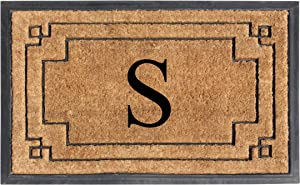 "A1 HOME COLLECTIONS A1HOME200128-S A1HC-Designer Hand-Crafted Rubber & Coir Frame Molded Double Door Mat, Perfect and More Functional Size 24""X36"" Monogrammed, S"