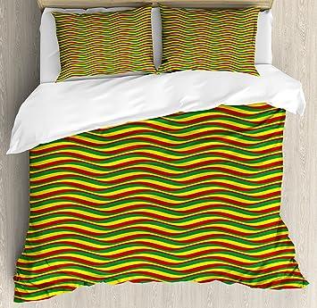 rasta housse de couette par ambesonne couleurs vives dthiopie drapeau afrique couleurs en