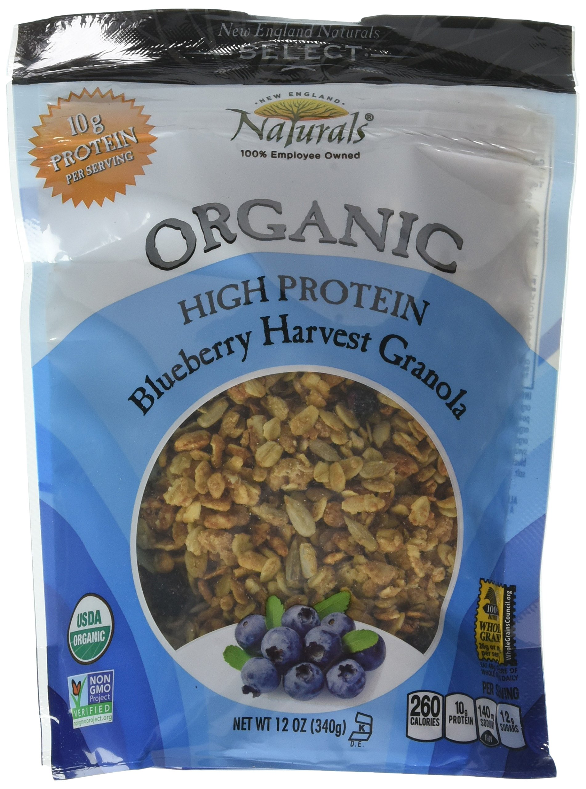 New England Natural Bakers Organic High Protein Blueberry Harvest Granola, 12 Ounce - 6 per case.