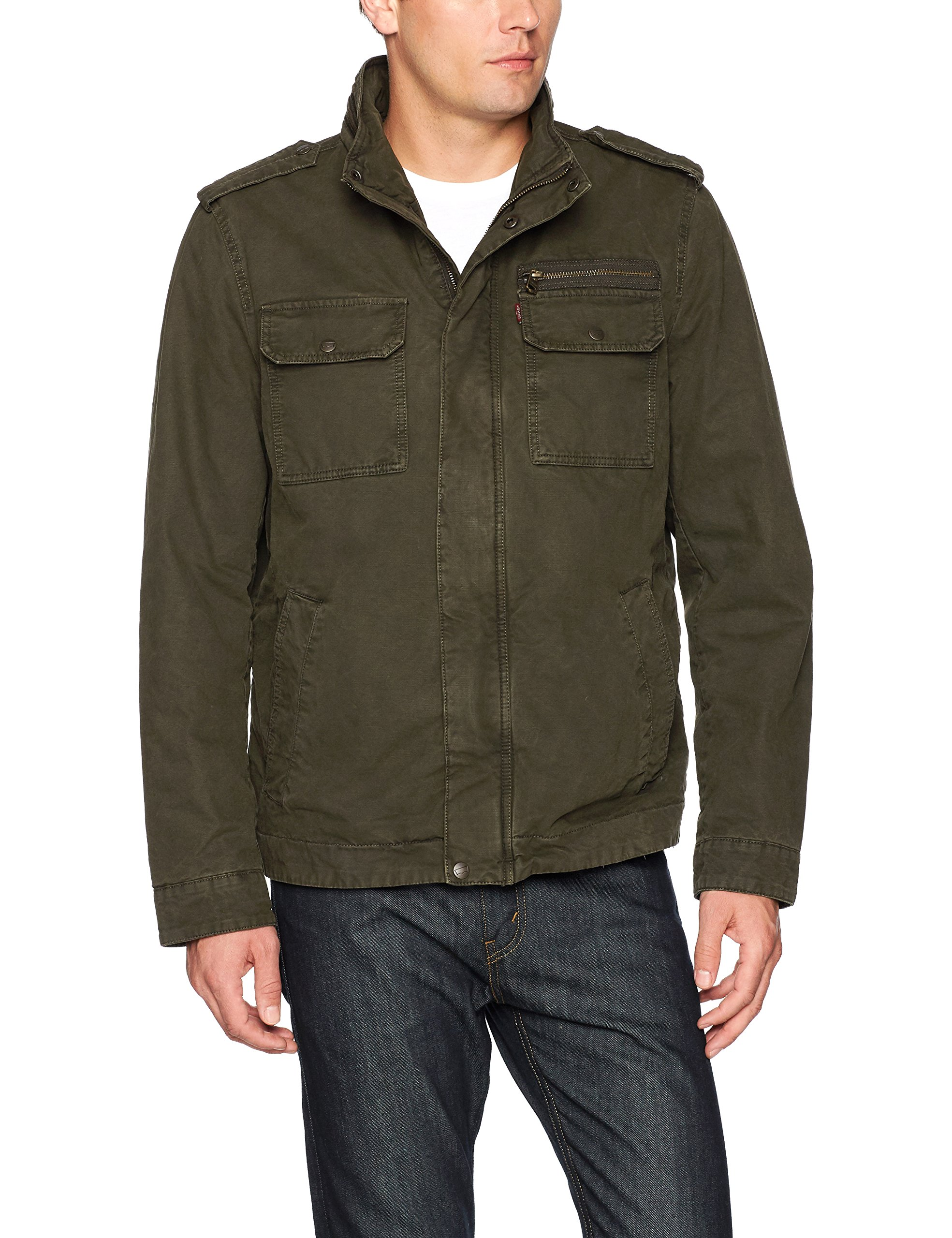 Levi's Men's Washed Cotton Two Pocket Sherpa Lined Military Jacket, Olive, Large by Levi's