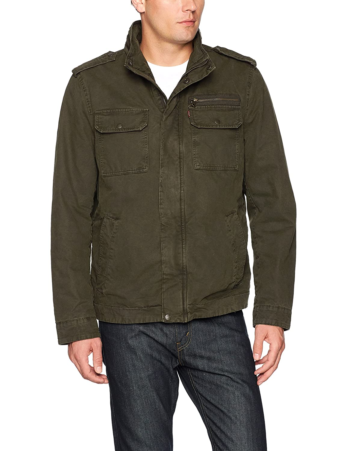 Levi's Men's Washed Cotton Two Pocket Sherpa Lined Military Jacket LM7RC394