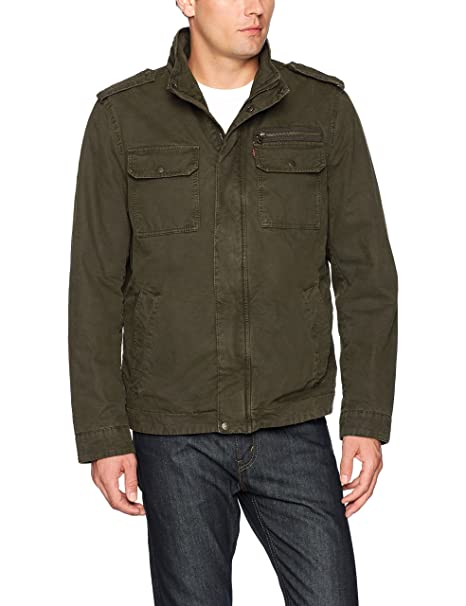 Levis Mens Washed Cotton Two Pocket Sherpa Lined Military Jacket