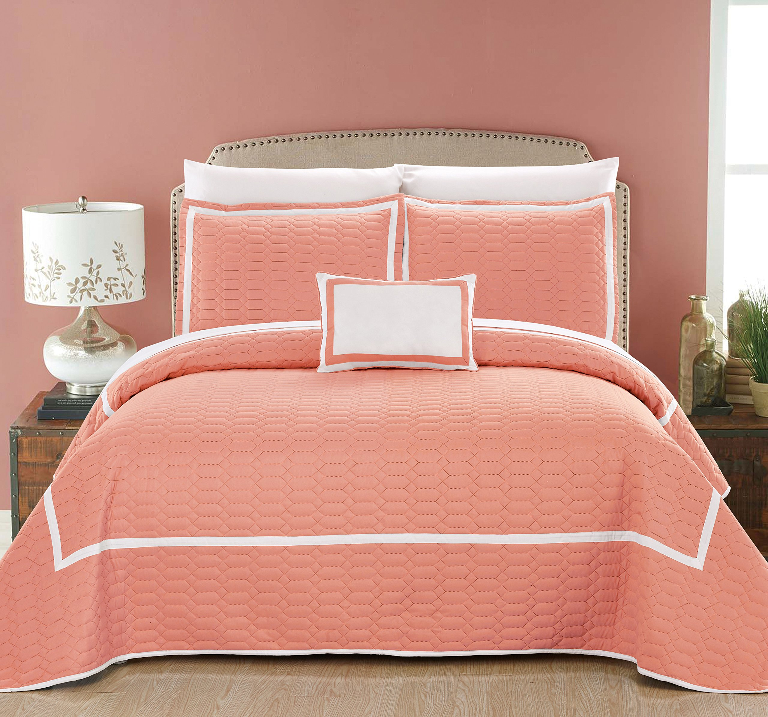 Chic Home Xavier 8 Piece Quilt Cover Set Hotel Collection Two Tone Banded Geometric Quilted Bed in a Bag Bedding - Sheets Decorative Pillow Shams Included, King Coral Red