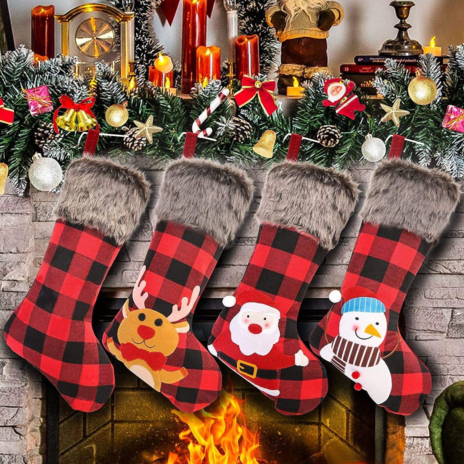 Aitsite Christmas Stockings 4 Pack 18 Big Xmas Stockings Burlap Plaid Style with Snowflake Santa Snowman Reindeer and Plush Faux Fur Cuff Family Pack Stockings for Xmas Holiday Party Decor