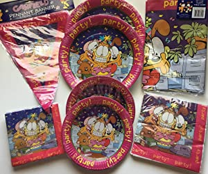 GARFIELD Party Bundle Pack for Party of 16 includes Plates Napkins Table Cover Banner