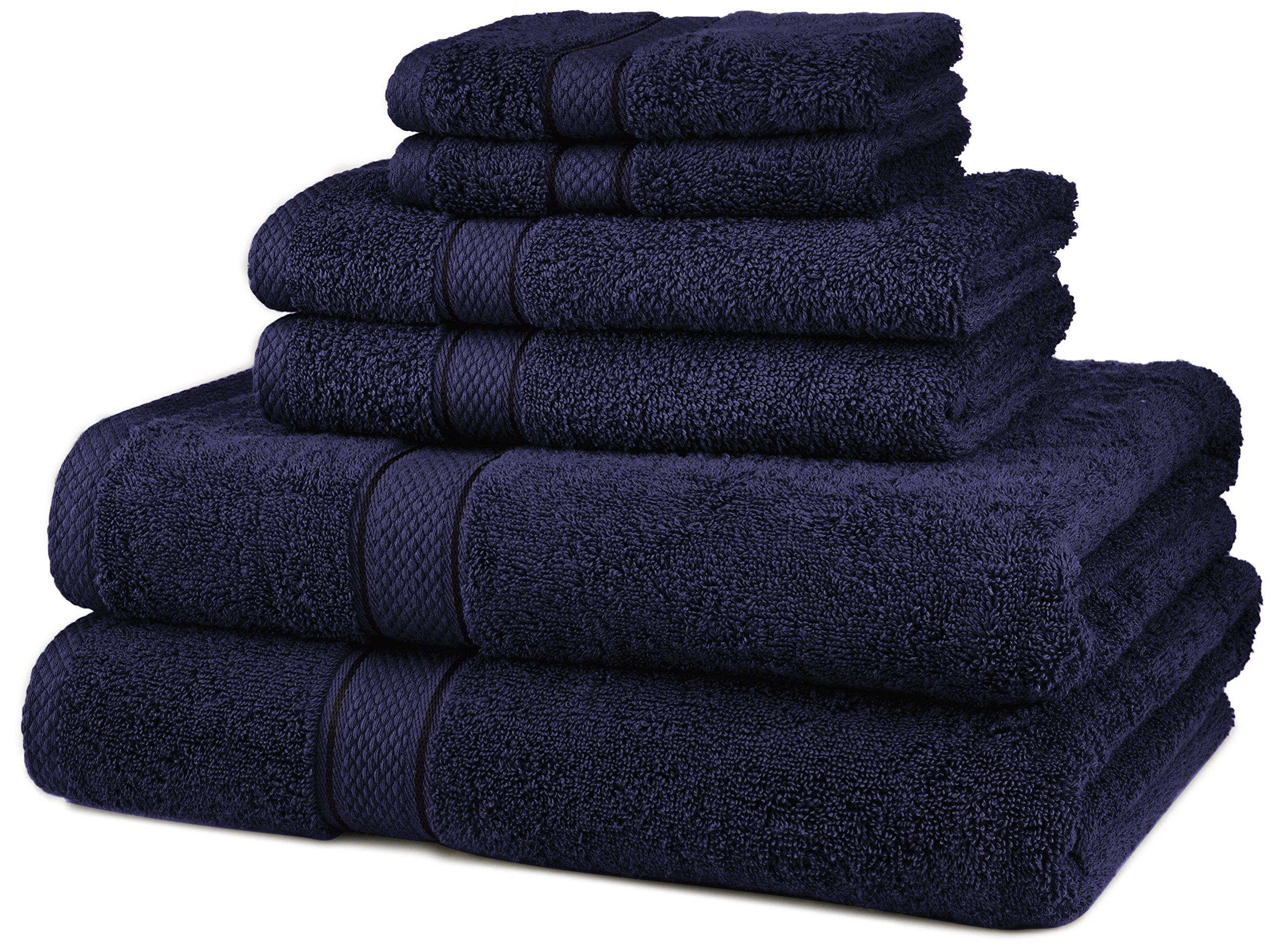 Pinzon Blended Egyptian Cotton 6-Piece Towel Set, Navy by Pinzon by Amazon