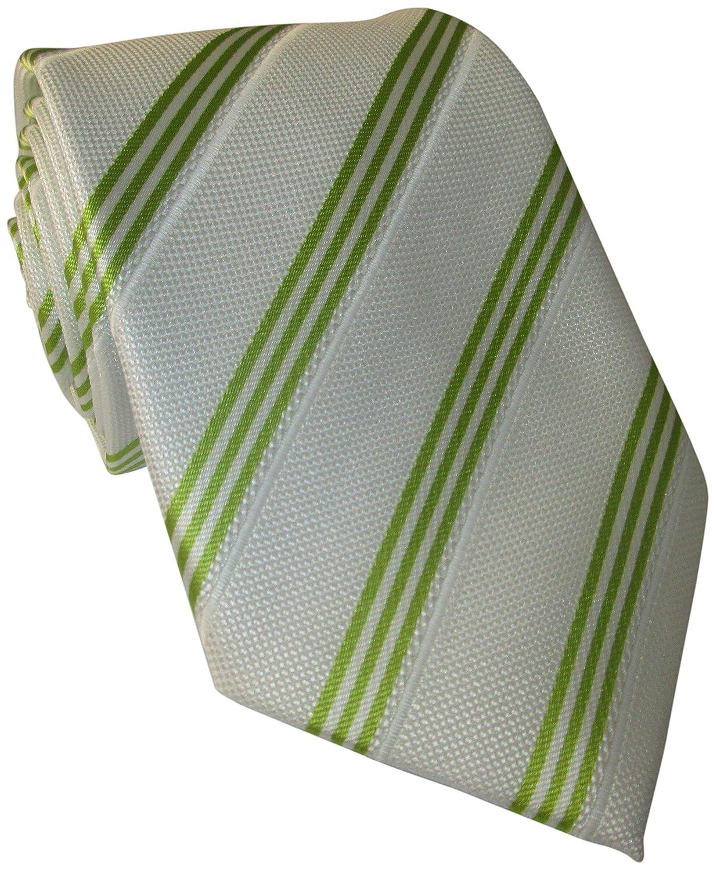 Corbata de seda blanca con rayas verdes: Amazon.es: Ropa y accesorios