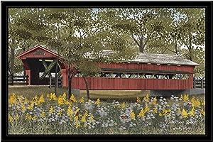 Trendy Decor4U Pottersburg Bridge by Billy Jacobs Printed Wall Art, 38 Inch x 26 Inch, Black Frame