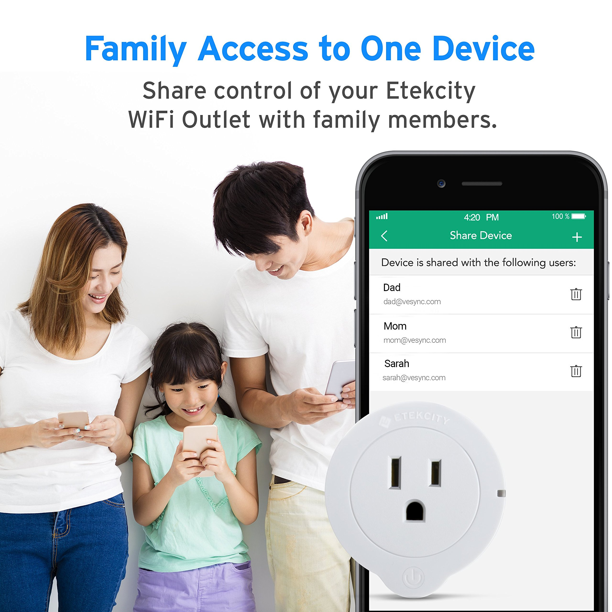 Etekcity WiFi Smart Plug, Voltson Mini Outlet with Energy Monitoring (6-Pack), No Hub Required, ETL Listed, White, Works with Alexa, Google Home and IFTTT by Etekcity (Image #4)