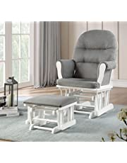 Lennox Furniture Emily Glider Chair and Ottoman Combo, White/Grey