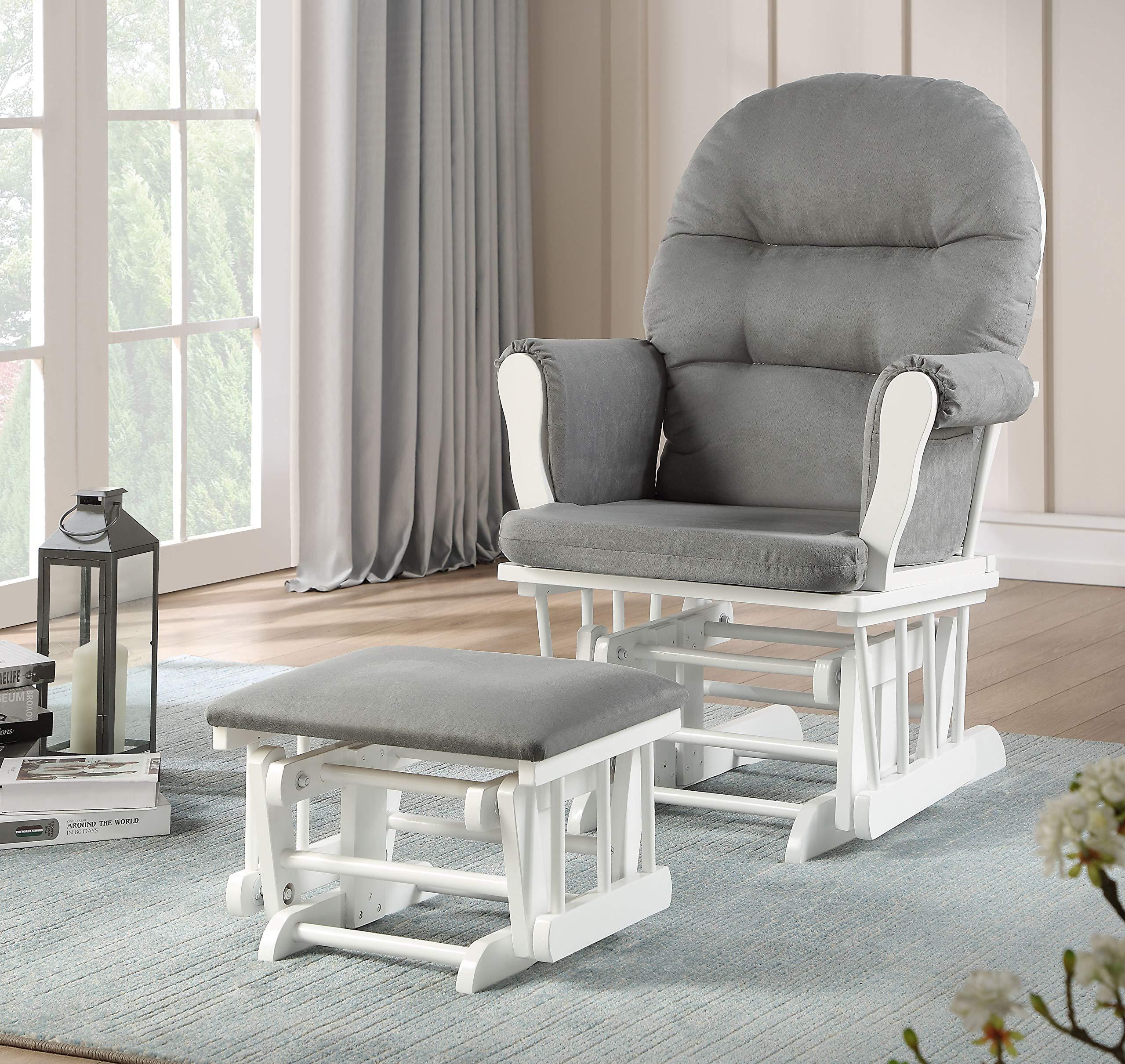 Lennox Furniture Emily Glider Chair & Ottoman Combo, White/Grey, White by Lennox Furniture