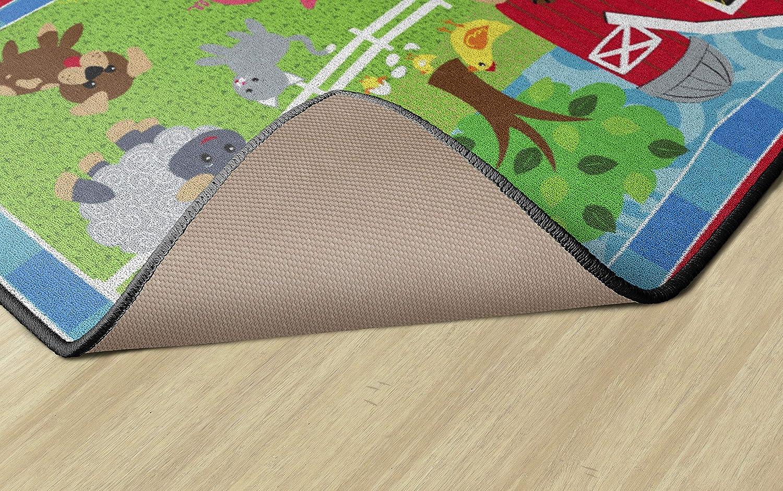 Flagship Carpets CE417-12W Cutie Barnyard 3x5 Childrens Classroom Nursery Rug Rectangle