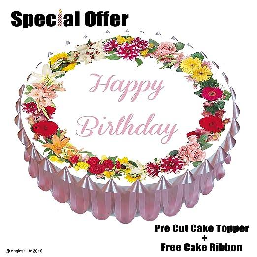 Tarta de cumpleaños, diseño con texto Happy Birthday