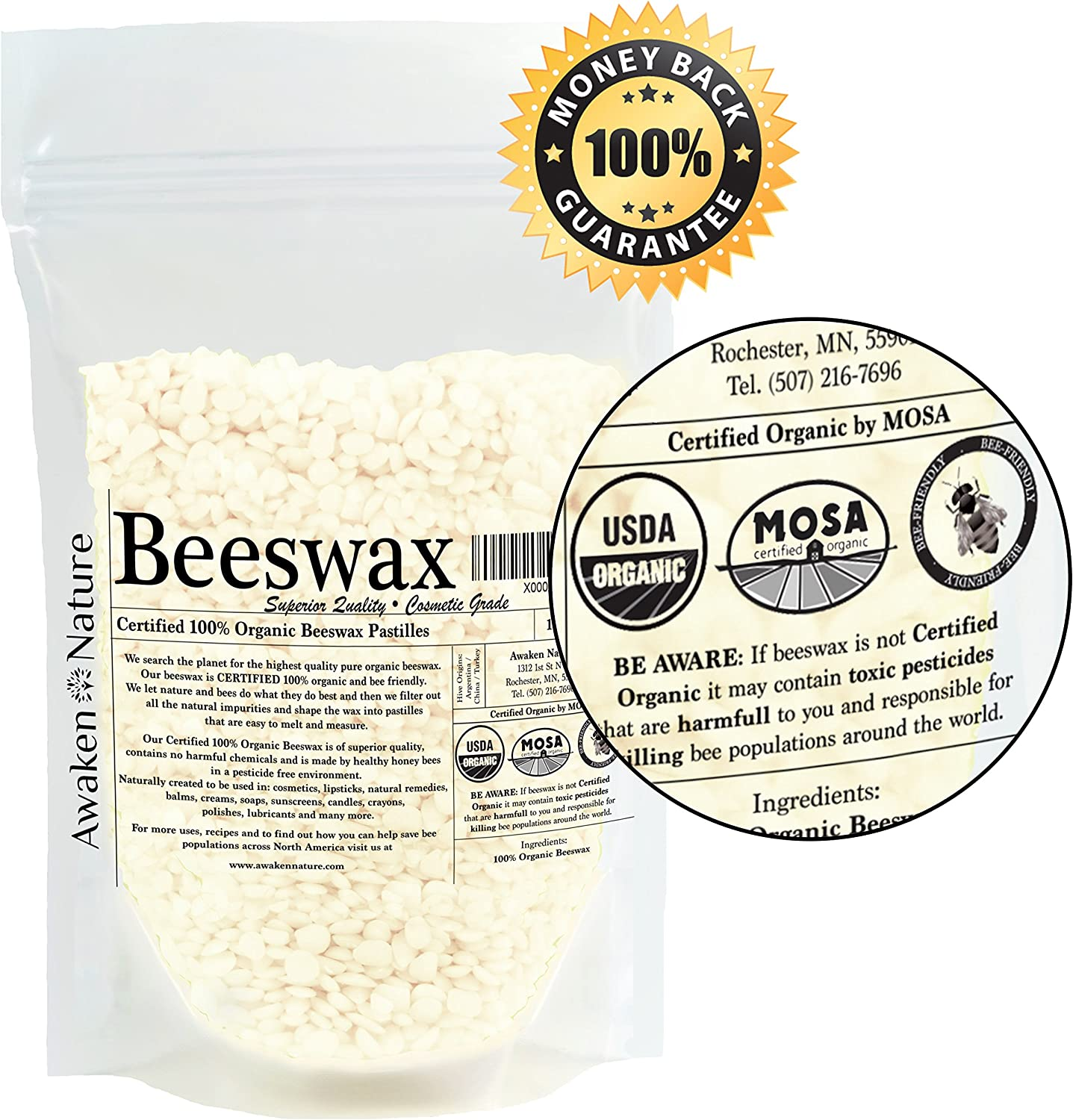 1 Pack Skin Care 1lb Pure Bees Wax No Toxic Pesticides or Chemicals Candles Sky Organics USDA Organic White Beeswax Pellets Easy Melt Pastilles- for DIY Lip Balm 3 x Filtered
