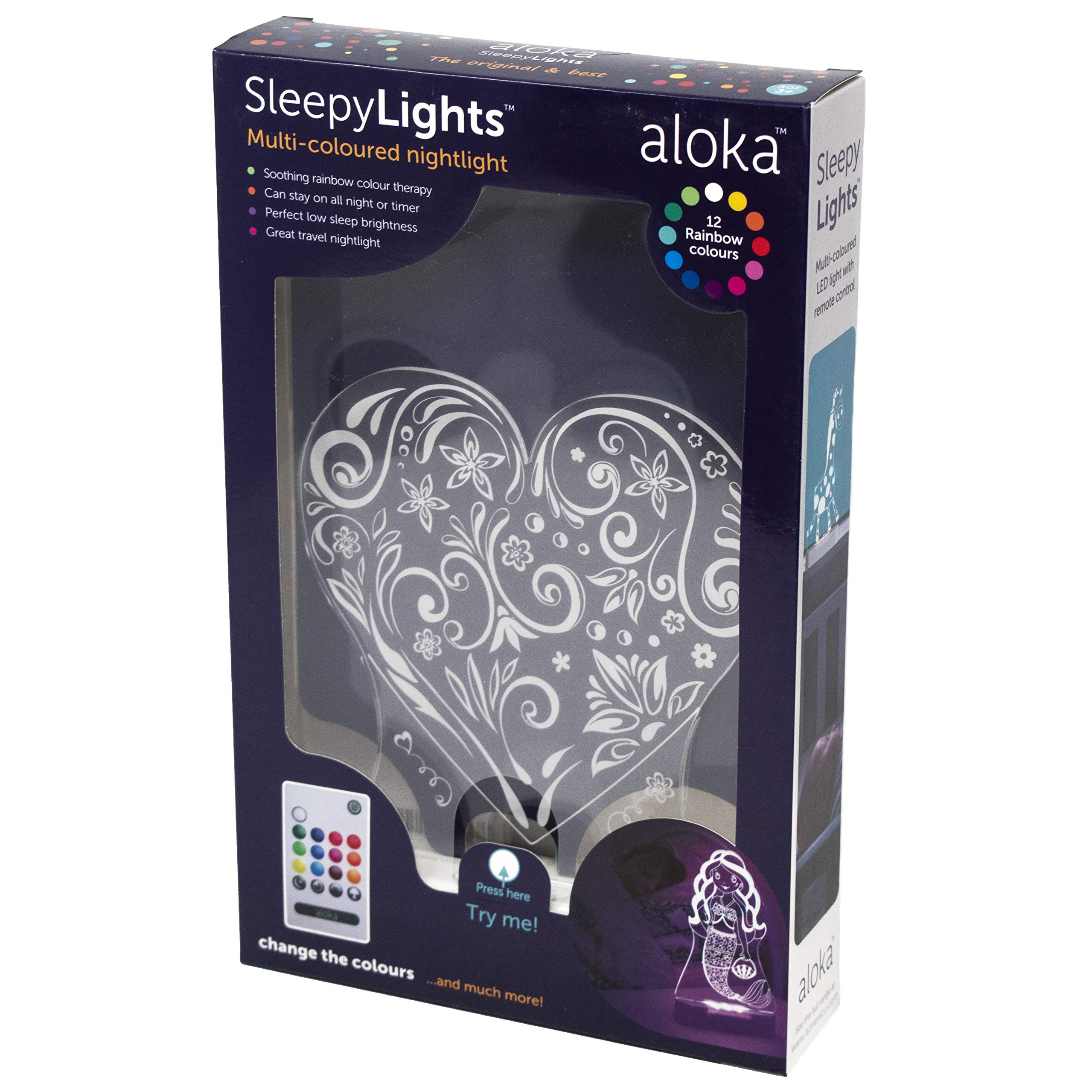 Love Heart SleepyLight -Color Change 12 Color Pattern LED Decorative Night Light for Kids with Remote