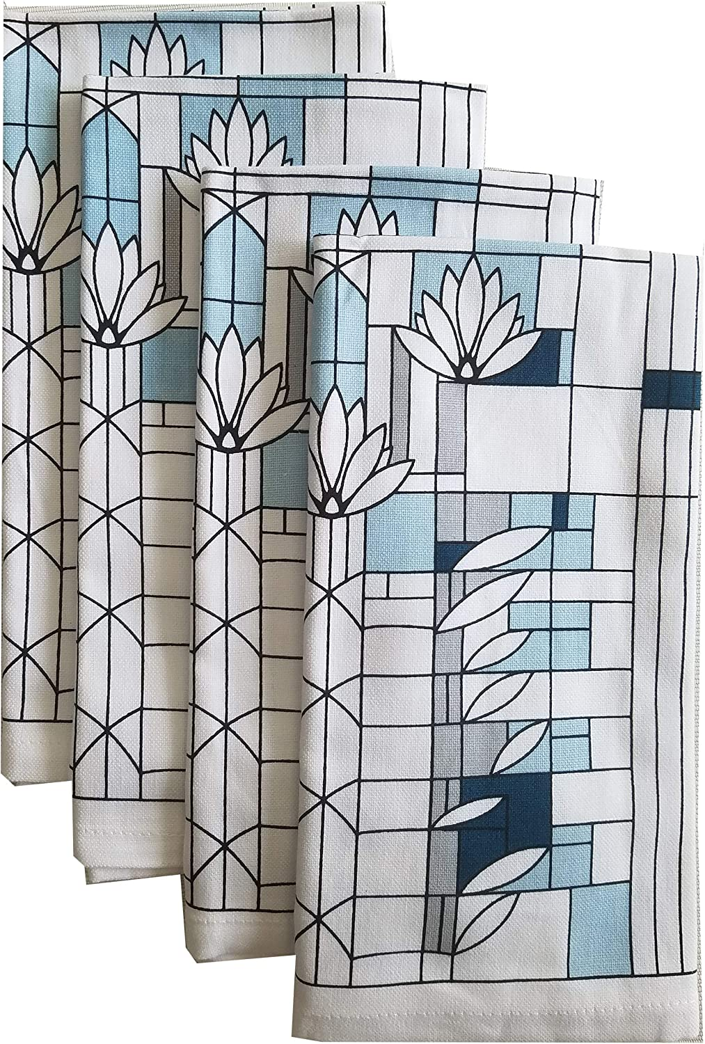 KAF Home Frank Lloyd Wright Printed Dinner Napkin 20 x 20-inch 100-Percent Cotton Set of 4 (Water Lilies)