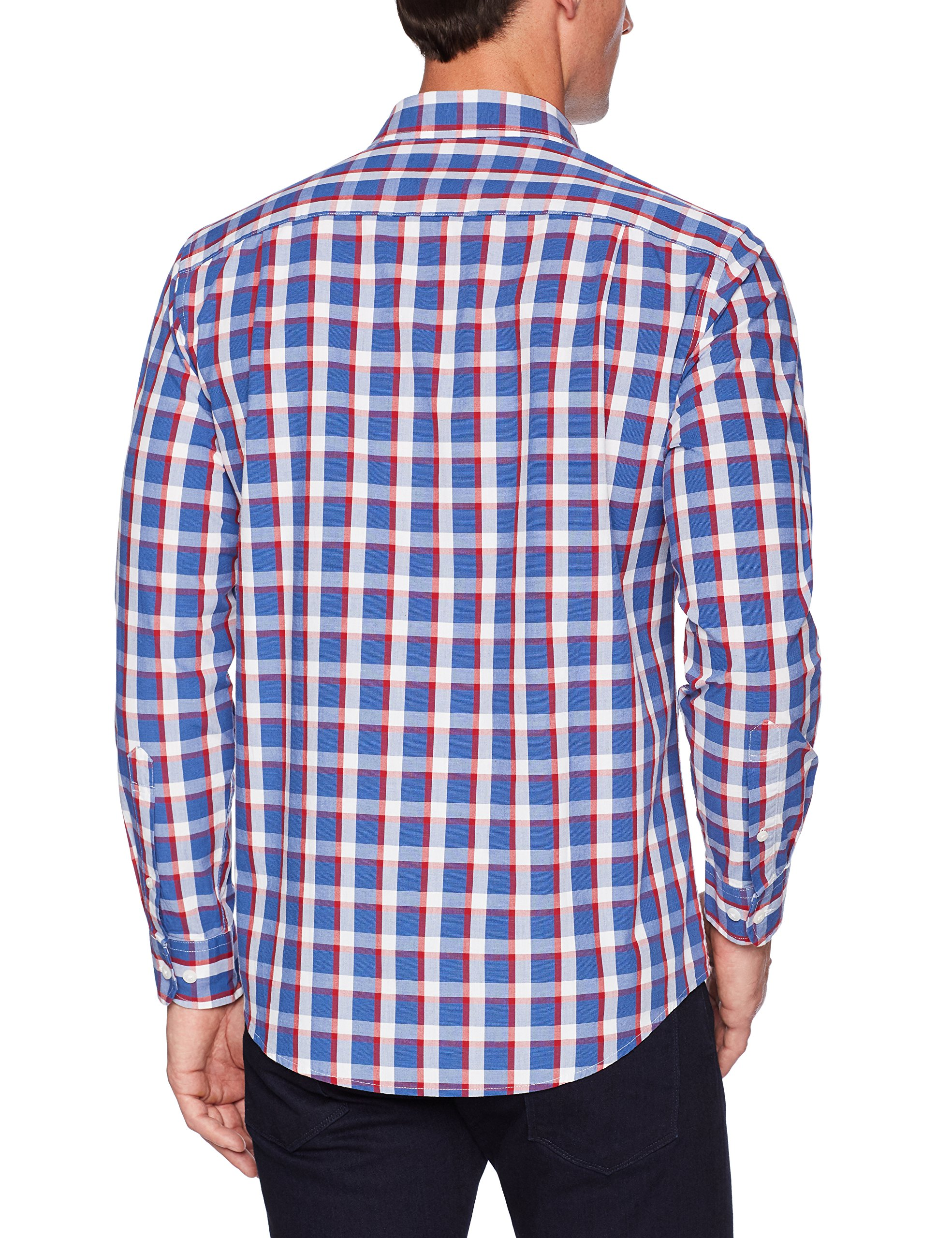 Amazon Essentials Men's Regular-Fit Long-Sleeve Plaid Shirt, blue/red plaid, Large by Amazon Essentials (Image #4)