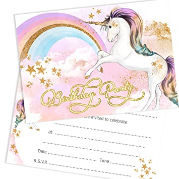 olivia samuel unicorn birthday party invitations girls birthday invites ready to write with envelopes