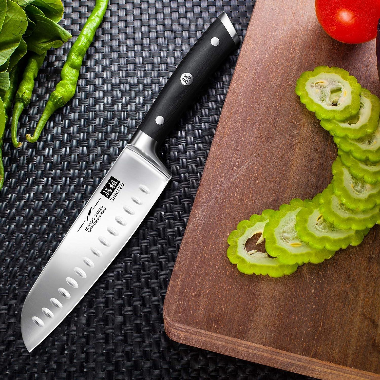 SHAN ZU Cuchillo Santoku, Cuchillo Japones, Cuchillo Chef, Cuchillo de Cocinero de Acero Inoxidable Alemán 1.4116, Mando de Madera Pakka