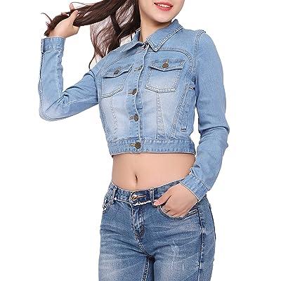 US Women Ripped Denim Cropped Button Coat Jean Jacket Long Sleeve Casual Outwear