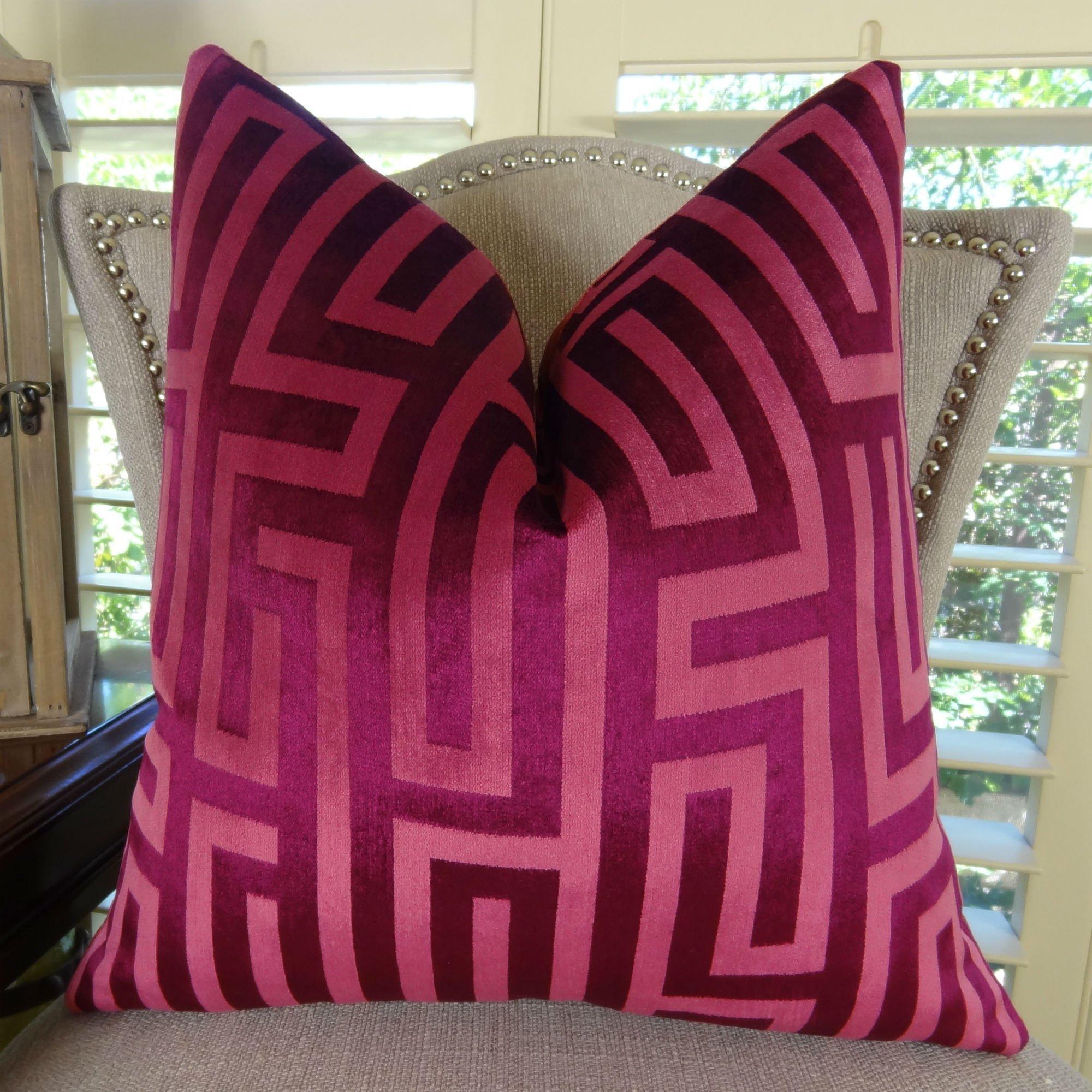 Thomas Collection Luxury Throw Pillow, Fuschia Greek Key Trellis Pattern Pillow, Geometric Pillow, Fuschia Throw Pillow, Hollywood Regency, INCLUDES POLYFILL INSERT, Handmade in USA, 11193