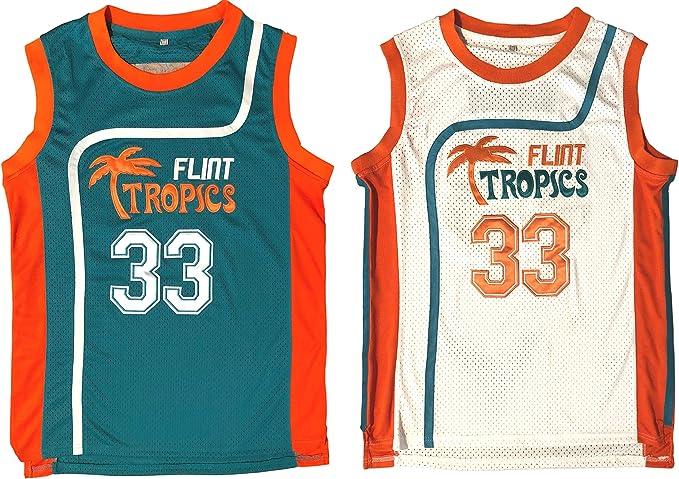 Mens Flint Tropics Semi Pro Movie #7 Coffee Black Basketball Jerseys Size S-3XL