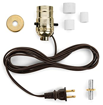 bottle lamp wiring kit with brass socket and 8 feet brown cord rh amazon com lamp wiring kit with multiple sockets lamp wiring kit home depot
