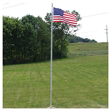 Super Tough Heavy Duty 20 Foot Residential Flagpole and US Made Valley Forge Nylon Flag