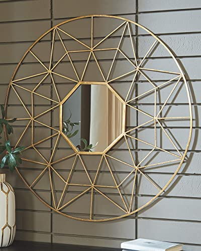 Signature Design by Ashley – Bulana Accent Mirror – Geometric Cut-Out Metal Frame – Gold Finish