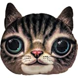 Ozmeow - 3D Cat Face Travel Pillow - Suits Car Plane Travel and Office Sofa Lounge - Luxurious Velour Soft and Washable - Provides Headrest Neck and Back Support - Suits Cat Loving Kids and Adults