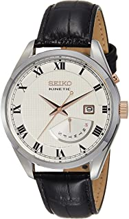 Seiko Kinetic SRN073 White Dial Black Leather Band Mens Watch