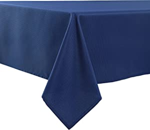 Biscaynebay Textured Fabric Tablecloths 60 X 84 Inches Rectangular, Navy Water Resistant Tablecloths for Dining, Kitchen, Wedding and Parties etc. Machine Washable