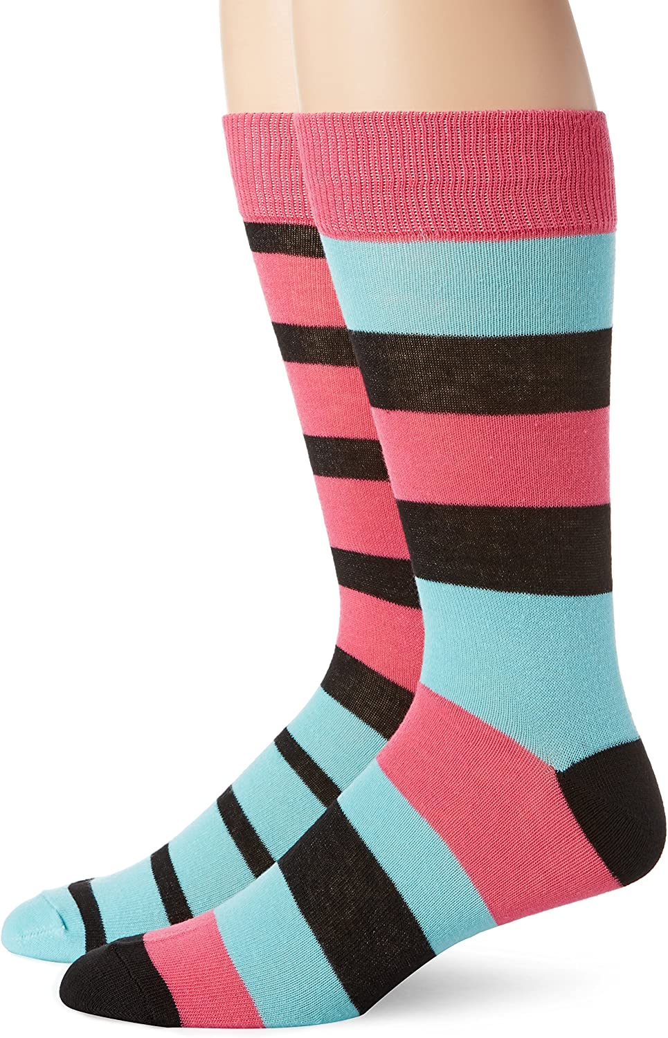 English Laundry Men's 2 Pack Rugby Stripe Crew Socks