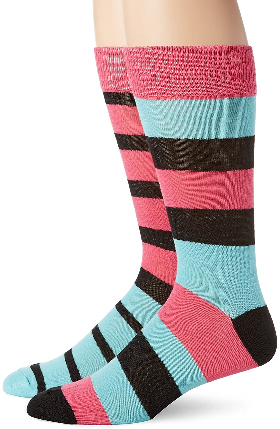 English Laundry Mens 2 Pack Rugby Stripe Crew Socks Black Shoe Size 6 1//2-12 English Laundry Mens Socks EL80362TC