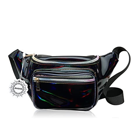 9ce708fa3966 Shiny Neon Fanny Bag for Women Rave Festival Hologram Bum Travel Waist Pack  (Black)