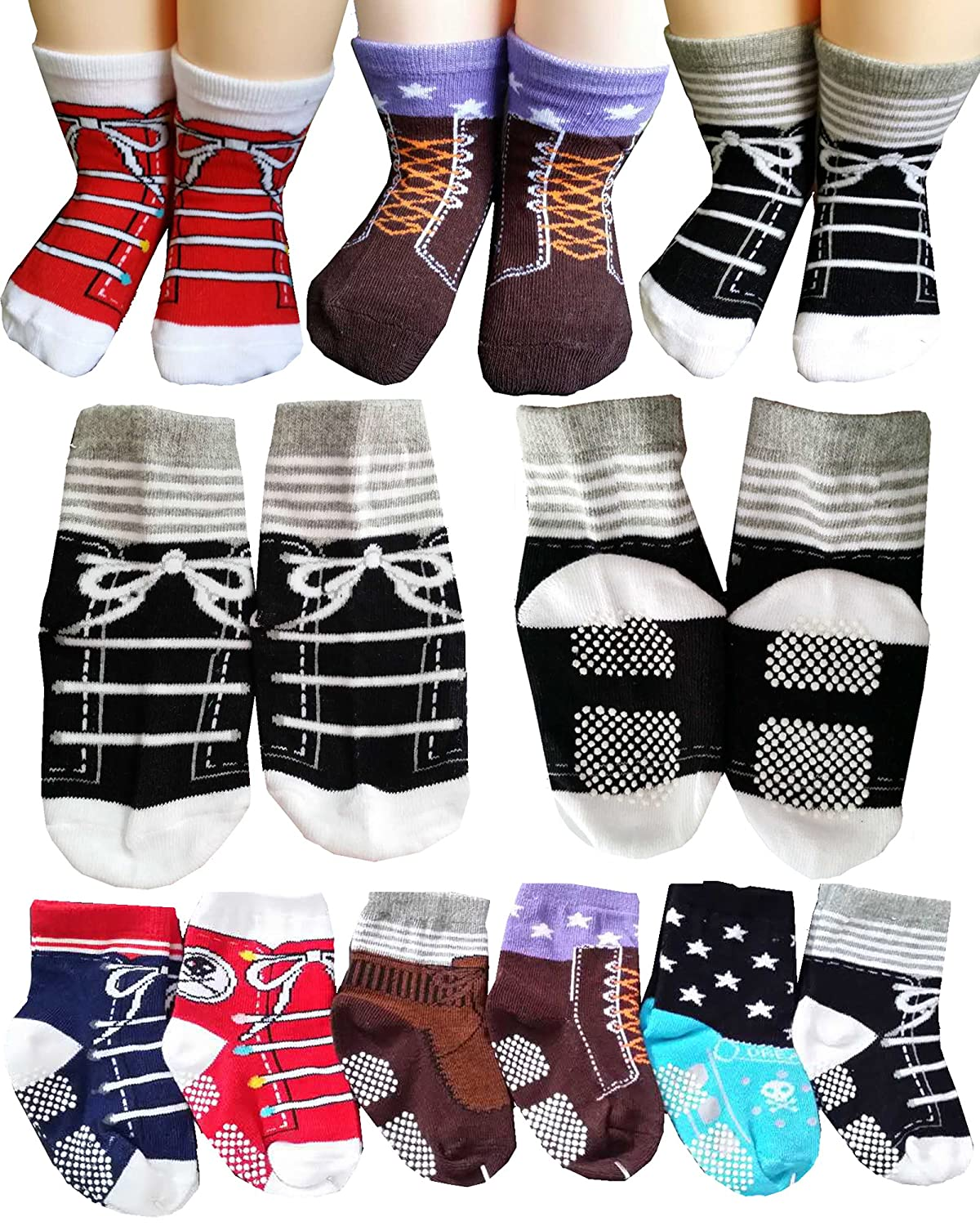 BSLINO Assorted 6 Pairs 12-24 Months Baby Boy Toddler Socks Non-Skid Anti Slip Stretch Knit Grips Cotton Shoe Socks Slippers + Thank you Card (Multicolor)